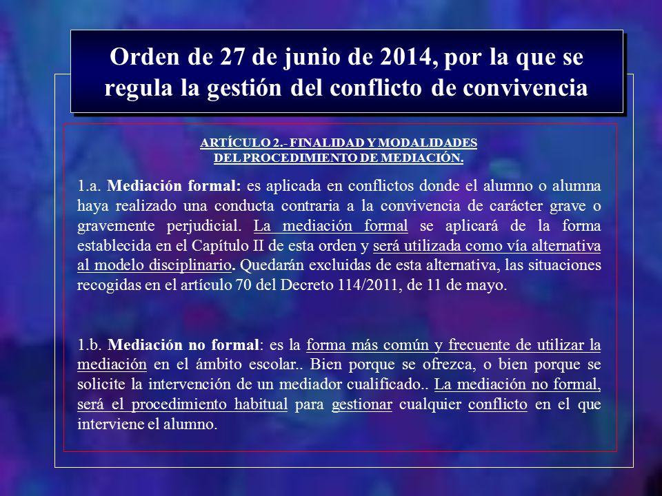 ARTÍCULO 2.- FINALIDAD Y MODALIDADES DEL PROCEDIMIENTO DE MEDIACIÓN.