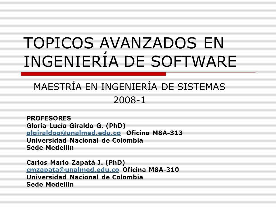 TOPICOS AVANZADOS EN INGENIERÍA DE SOFTWARE