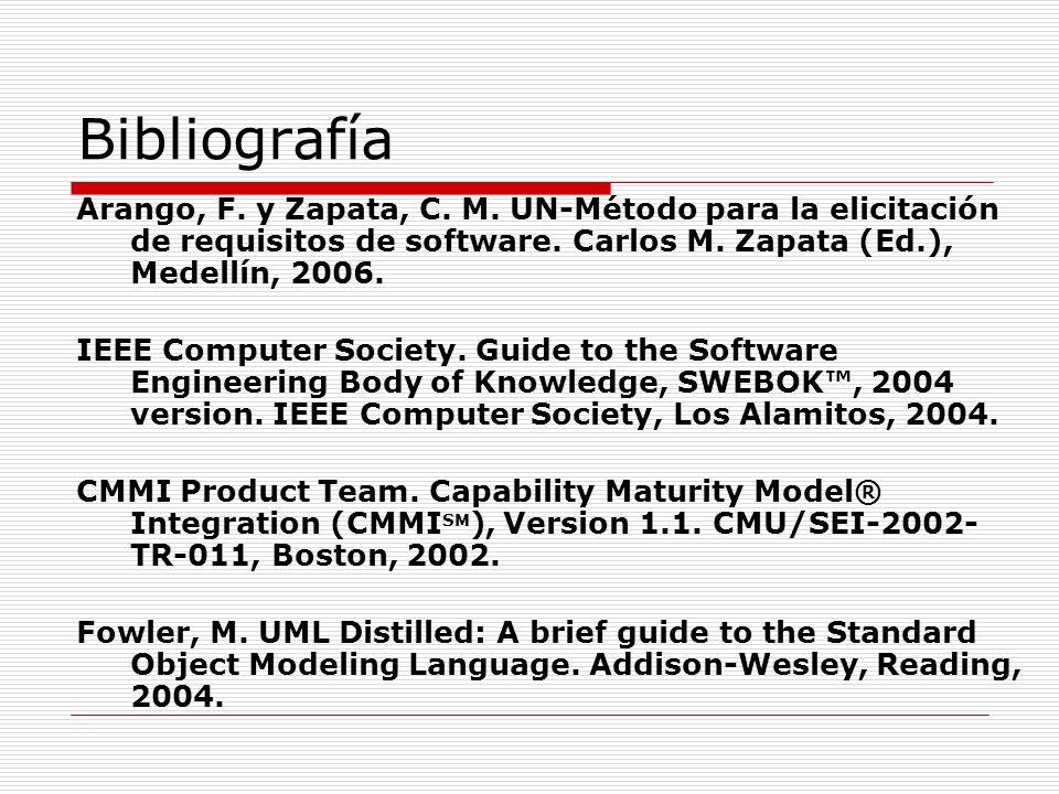 Bibliografía Arango, F. y Zapata, C. M. UN-Método para la elicitación de requisitos de software. Carlos M. Zapata (Ed.), Medellín, 2006.