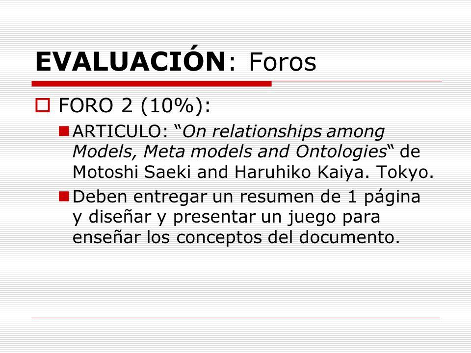EVALUACIÓN: Foros FORO 2 (10%):
