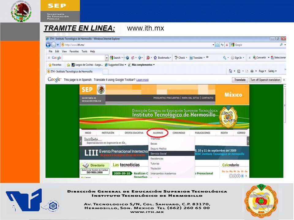 TRAMITE EN LINEA: www.ith.mx