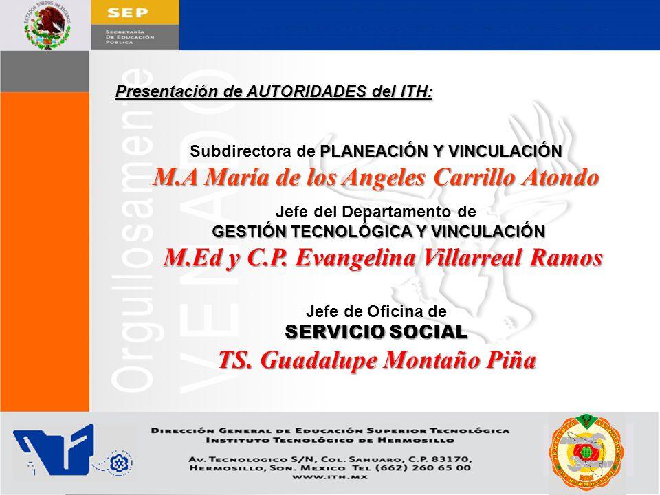Jefe del Departamento de TS. Guadalupe Montaño Piña