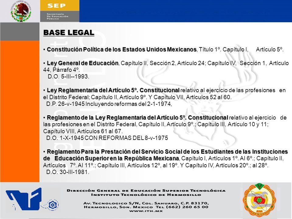 BASE LEGAL • Constitución Política de los Estados Unidos Mexicanos, Título 1º. Capítulo I, Artículo 5º.