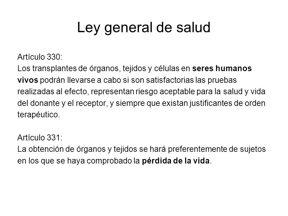 Ley general de salud Artículo 330: