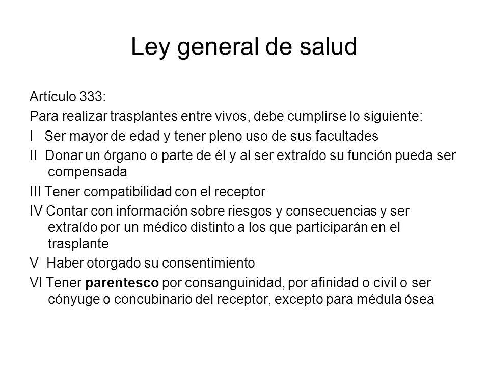 Ley general de salud Artículo 333: