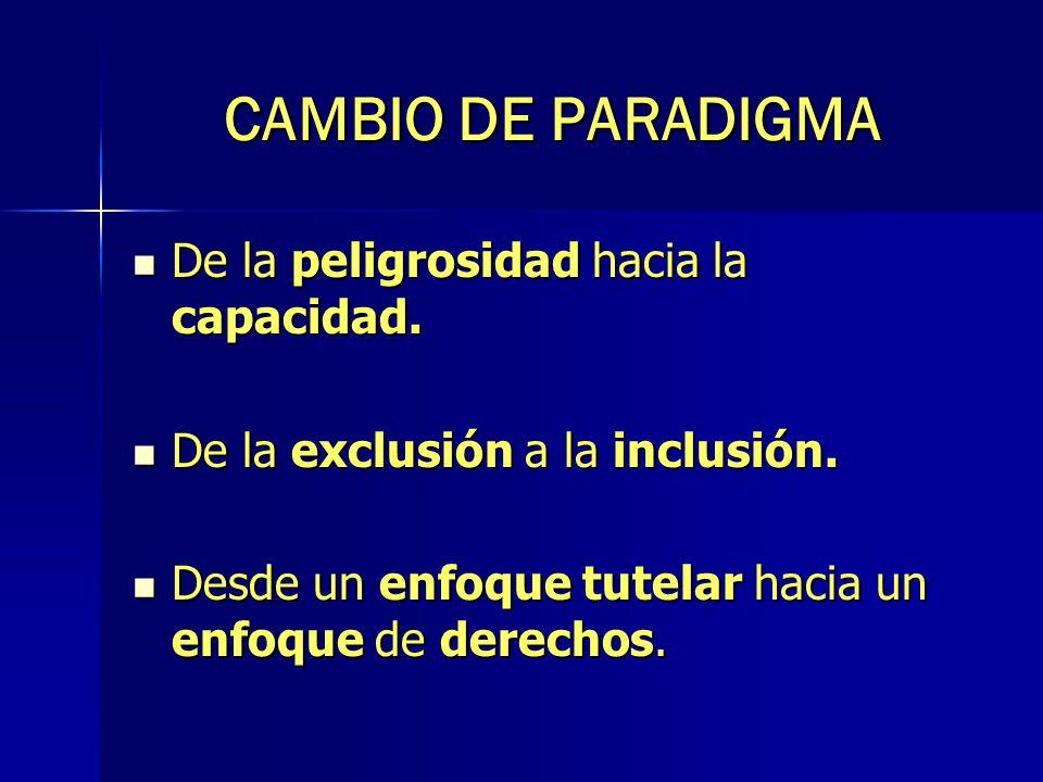 CAMBIO DE PARADIGMA De la peligrosidad hacia la capacidad.