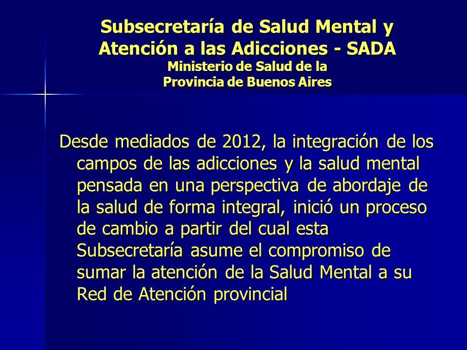 Subsecretaría de Salud Mental y Atención a las Adicciones - SADA Ministerio de Salud de la Provincia de Buenos Aires