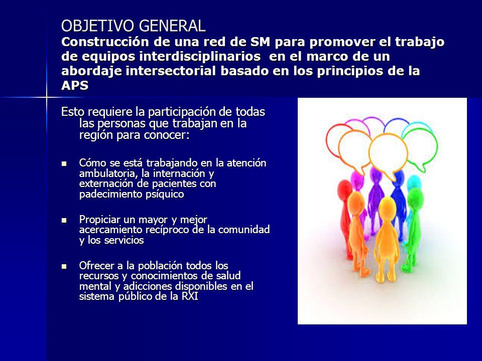 OBJETIVO GENERAL Construcción de una red de SM para promover el trabajo de equipos interdisciplinarios en el marco de un abordaje intersectorial basado en los principios de la APS