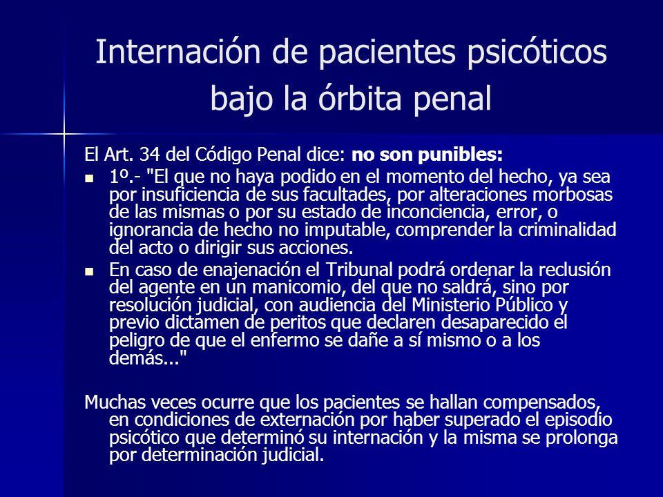 Internación de pacientes psicóticos bajo la órbita penal