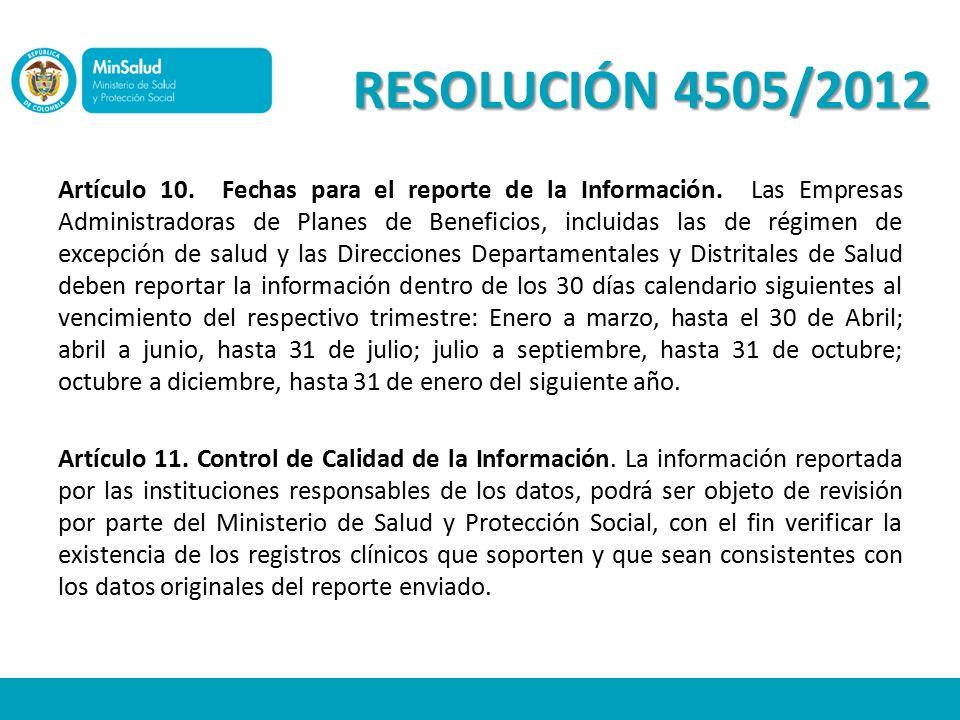RESOLUCIÓN 4505/2012