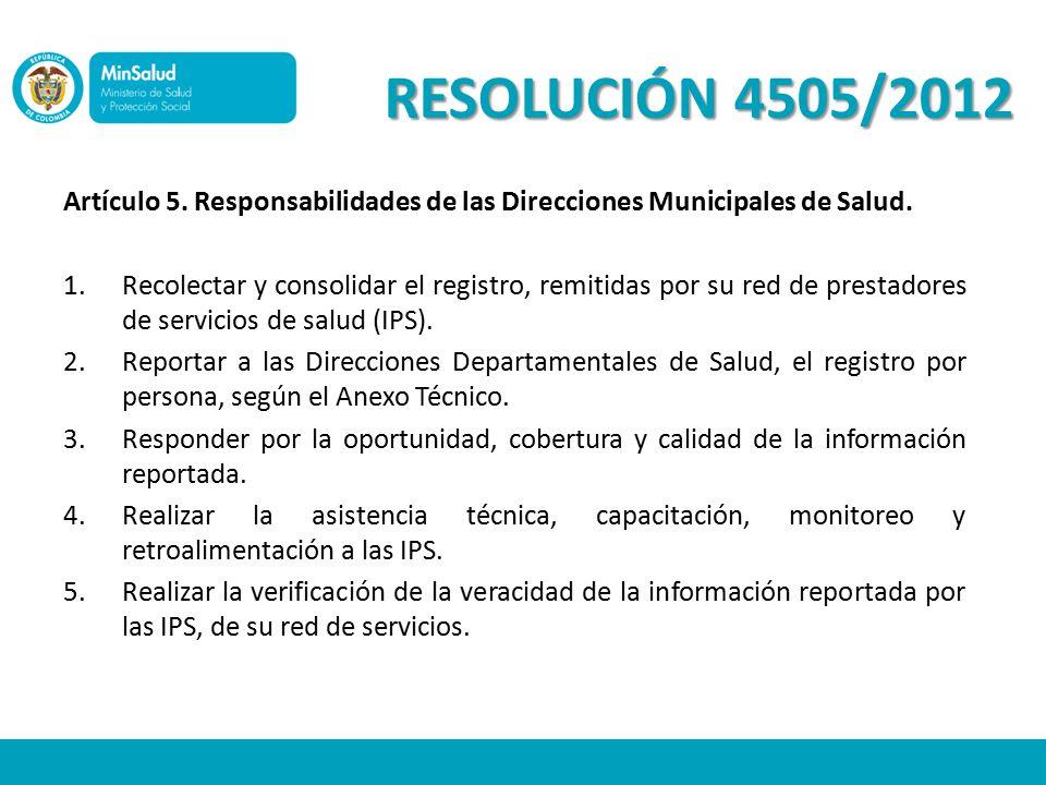 RESOLUCIÓN 4505/2012 Artículo 5. Responsabilidades de las Direcciones Municipales de Salud.