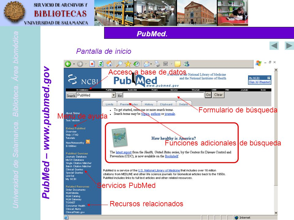 PubMed – www.pubmed.gov PubMed. Pantalla de inicio