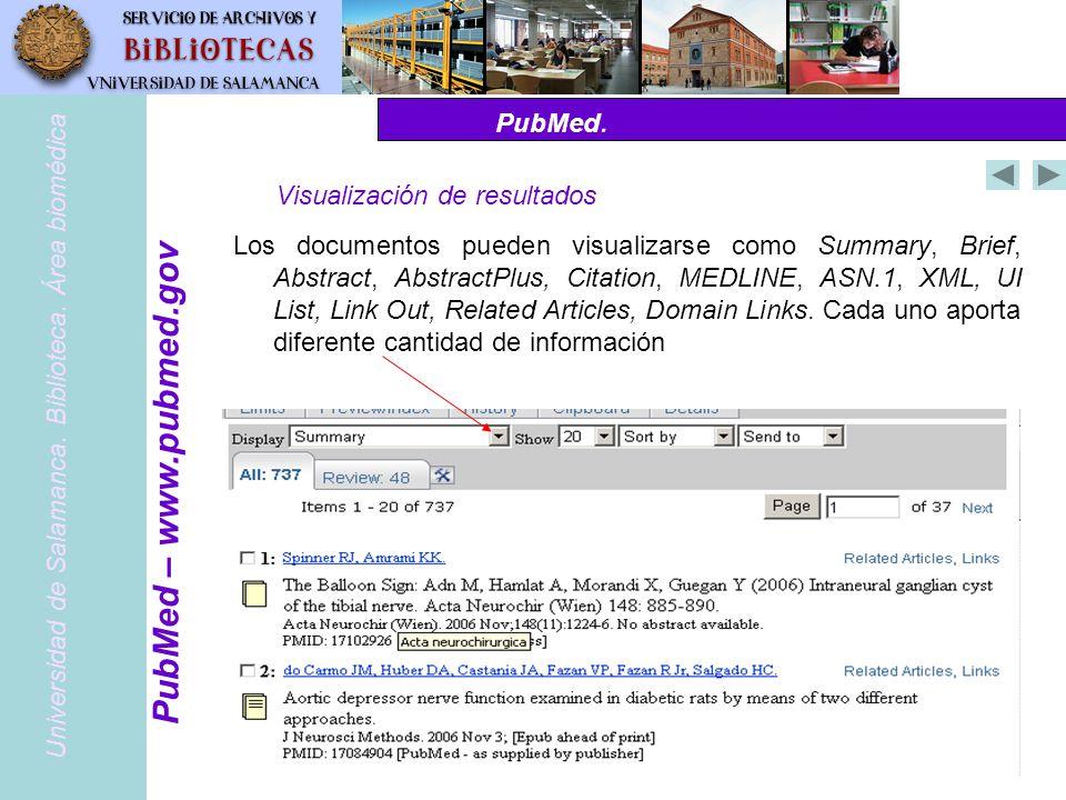 PubMed – www.pubmed.gov PubMed. Visualización de resultados