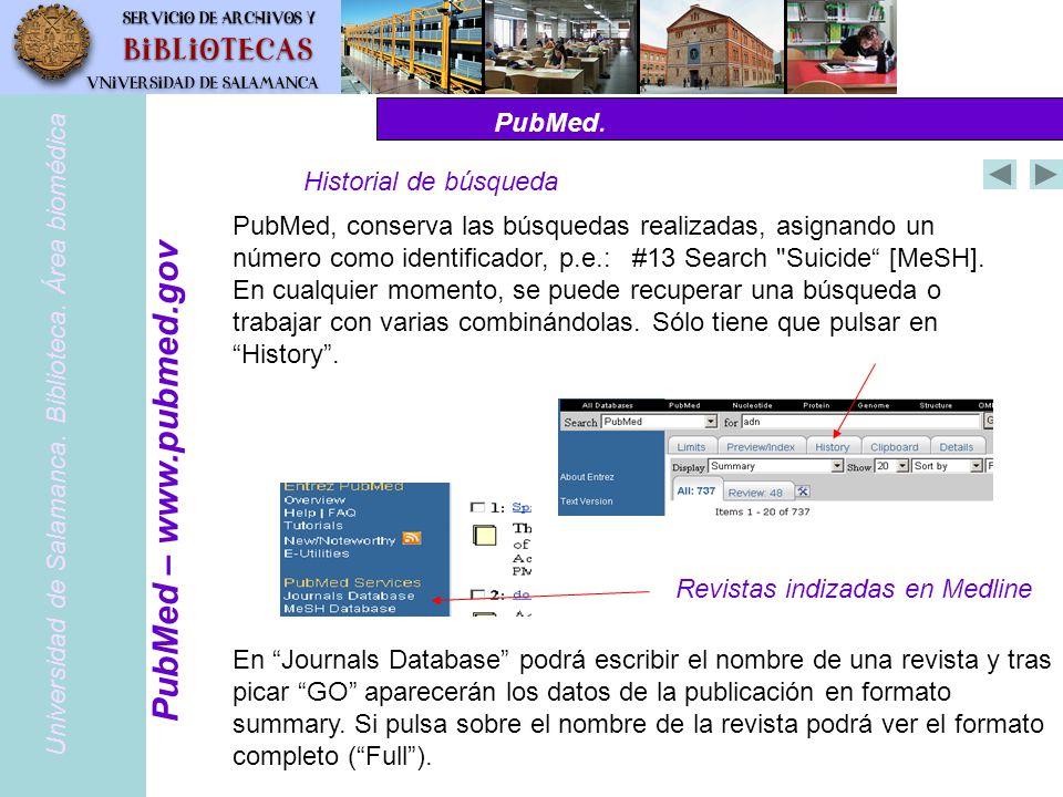 PubMed – www.pubmed.gov PubMed. Historial de búsqueda