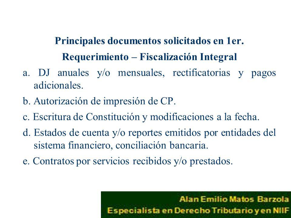 Principales documentos solicitados en 1er