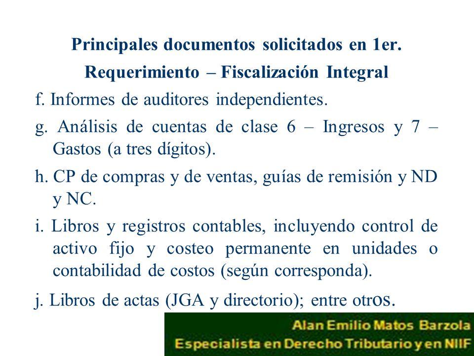 Principales documentos solicitados en 1er.