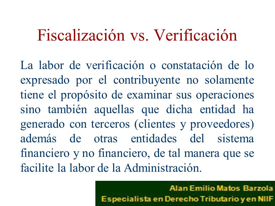 Fiscalización vs. Verificación