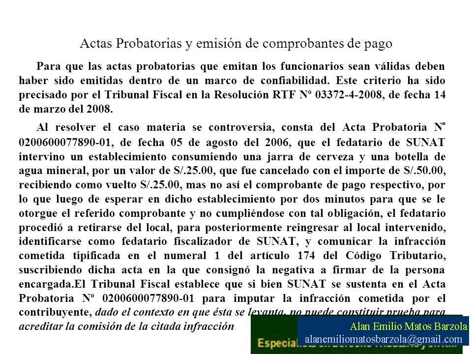 Actas Probatorias y emisión de comprobantes de pago