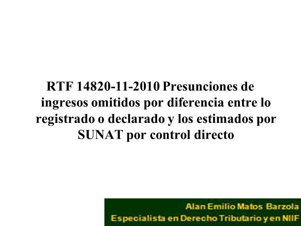 RTF 14820-11-2010 Presunciones de ingresos omitidos por diferencia entre lo registrado o declarado y los estimados por SUNAT por control directo