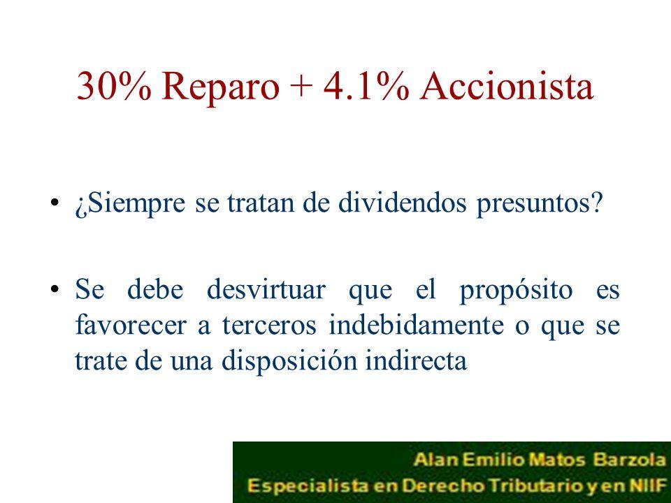 30% Reparo + 4.1% Accionista ¿Siempre se tratan de dividendos presuntos