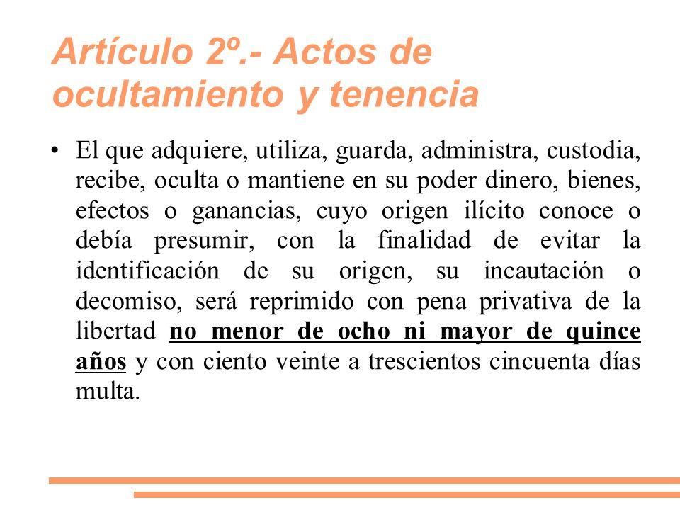 Artículo 2º.- Actos de ocultamiento y tenencia