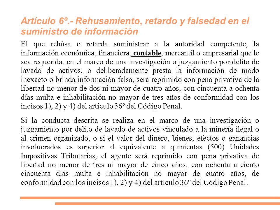 Artículo 6º.- Rehusamiento, retardo y falsedad en el suministro de información