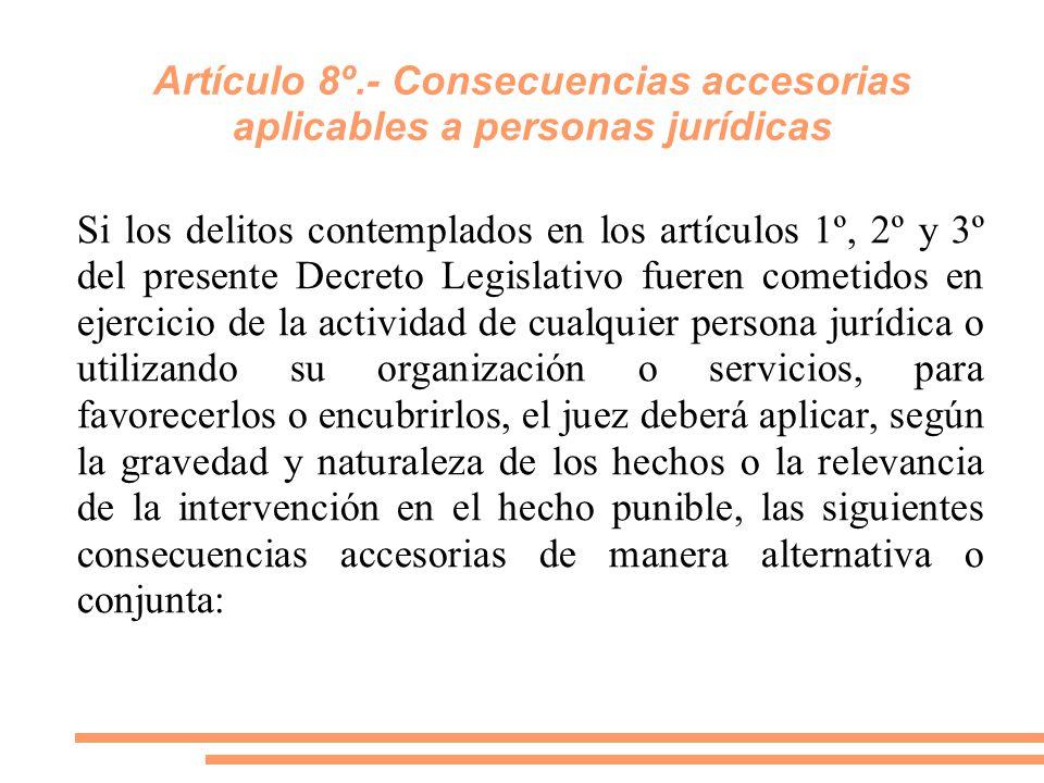 Artículo 8º.- Consecuencias accesorias aplicables a personas jurídicas