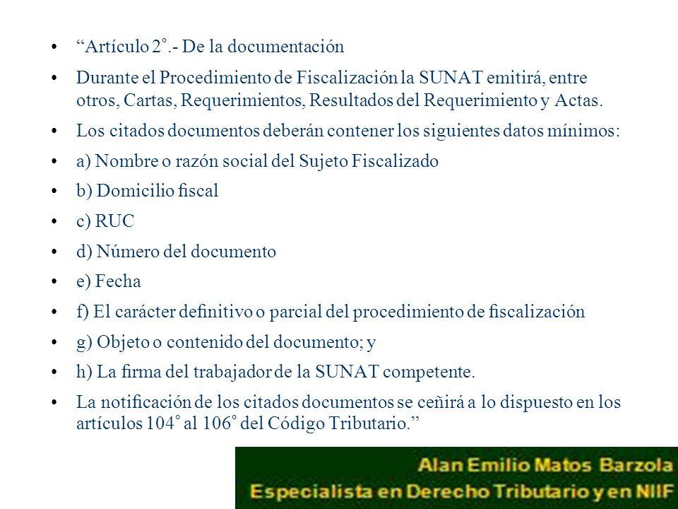 Artículo 2°.- De la documentación