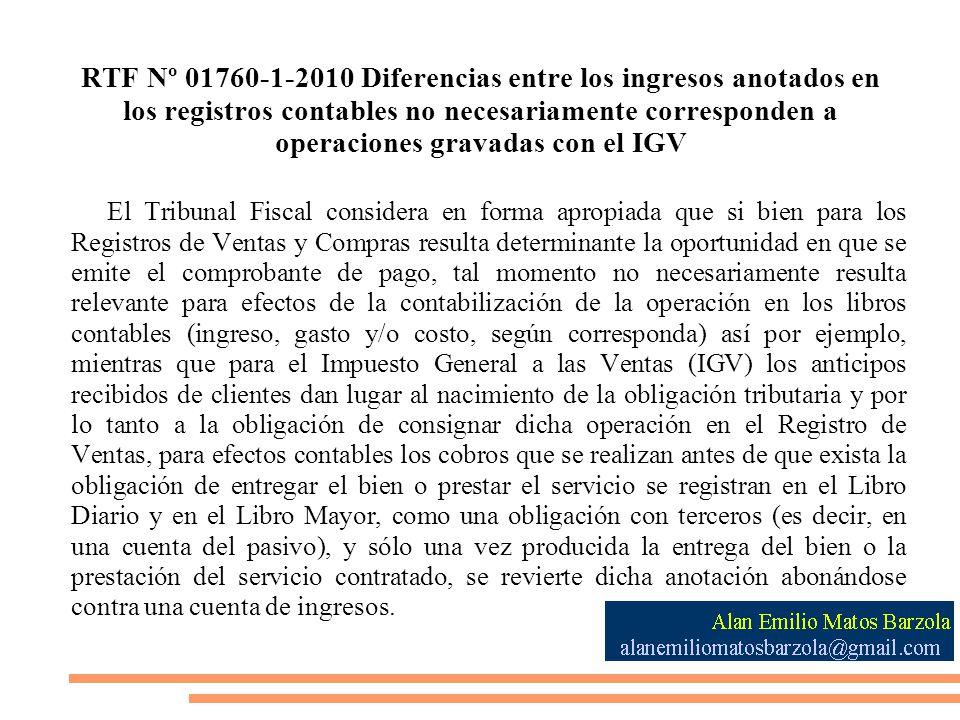 RTF Nº 01760-1-2010 Diferencias entre los ingresos anotados en los registros contables no necesariamente corresponden a operaciones gravadas con el IGV