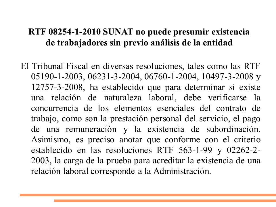 RTF 08254-1-2010 SUNAT no puede presumir existencia de trabajadores sin previo análisis de la entidad
