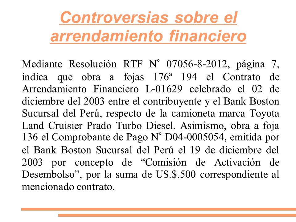Controversias sobre el arrendamiento financiero