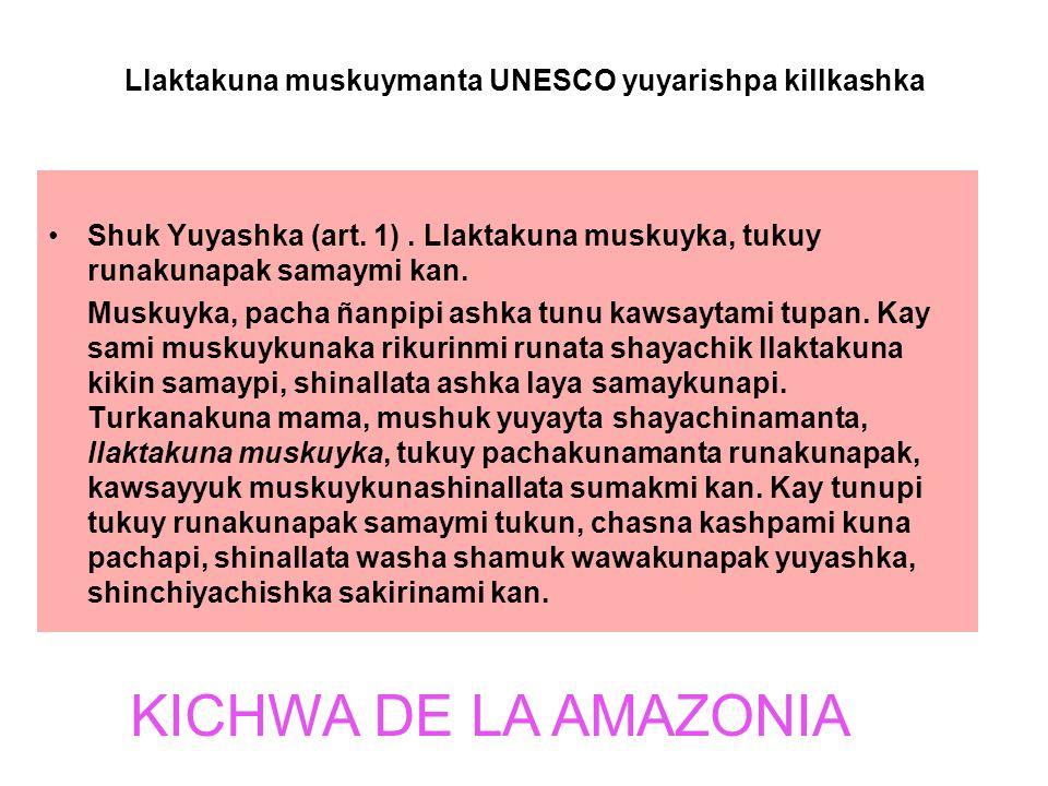 Llaktakuna muskuymanta UNESCO yuyarishpa killkashka