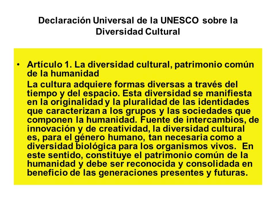 Declaración Universal de la UNESCO sobre la Diversidad Cultural