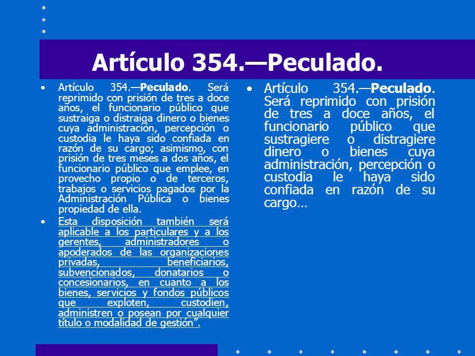 Artículo 354.—Peculado.