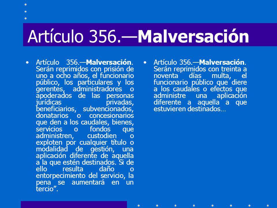 Artículo 356.—Malversación