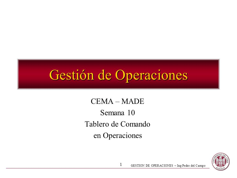 Gestión de Operaciones