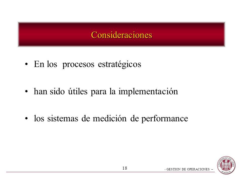 Consideraciones En los procesos estratégicos. han sido útiles para la implementación.