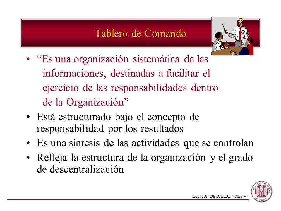 Tablero de Comando Es una organización sistemática de las. informaciones, destinadas a facilitar el.