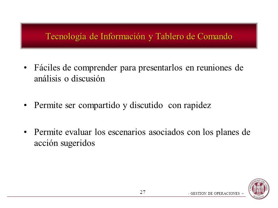 Tecnología de Información y Tablero de Comando