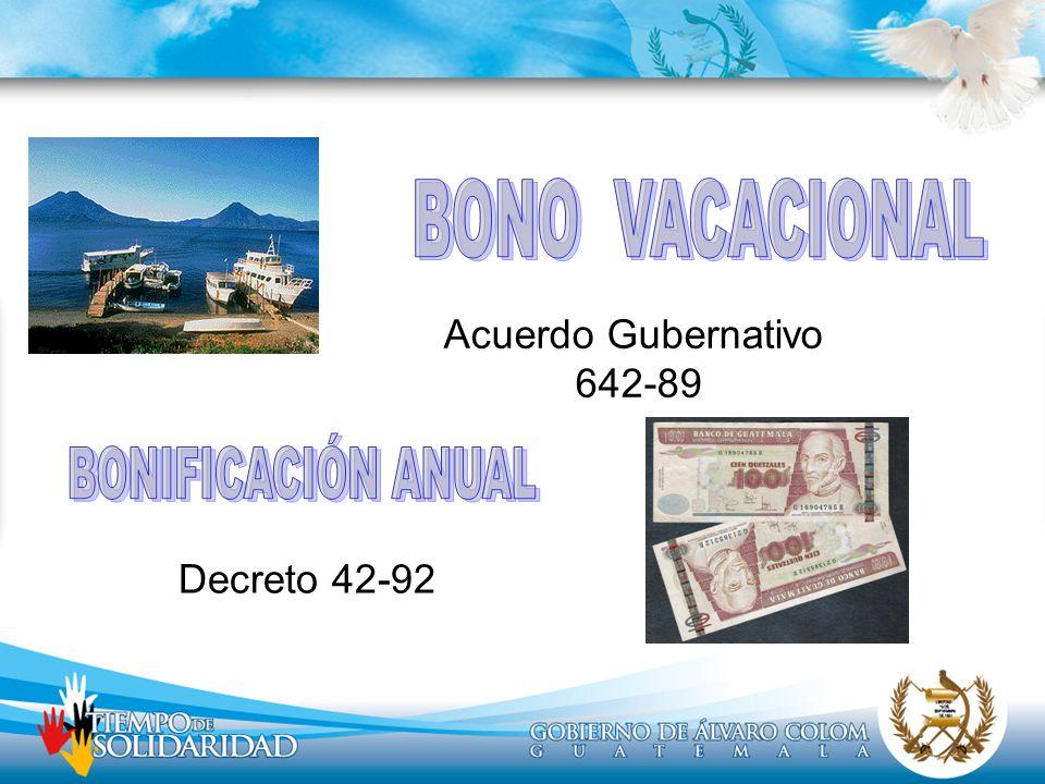 BONO VACACIONAL BONIFICACIÓN ANUAL Acuerdo Gubernativo 642-89