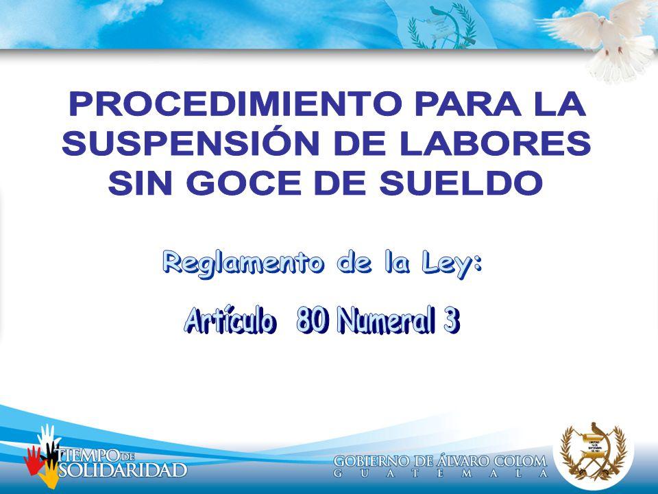 Reglamento de la Ley: Artículo 80 Numeral 3