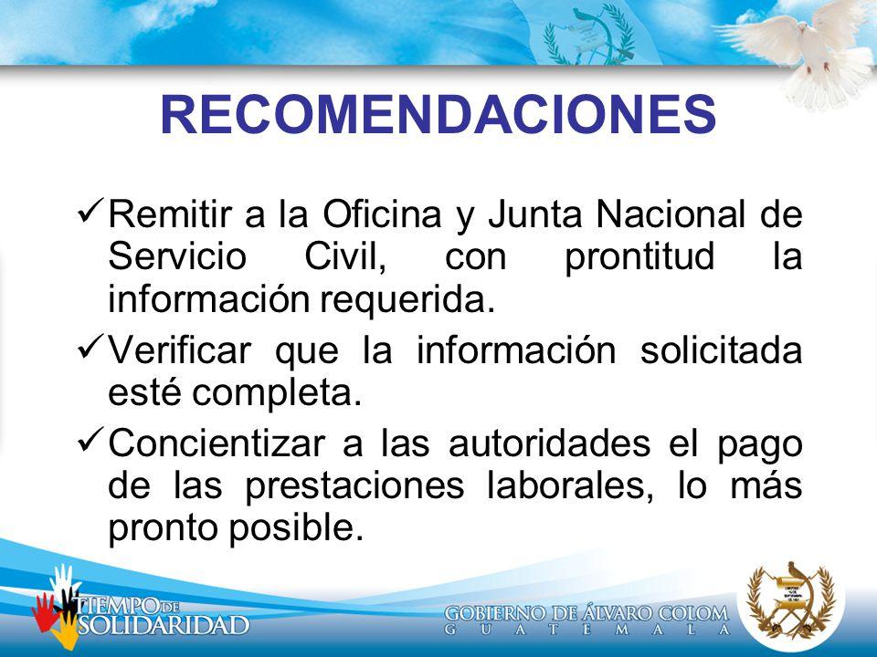 RECOMENDACIONES Remitir a la Oficina y Junta Nacional de Servicio Civil, con prontitud la información requerida.