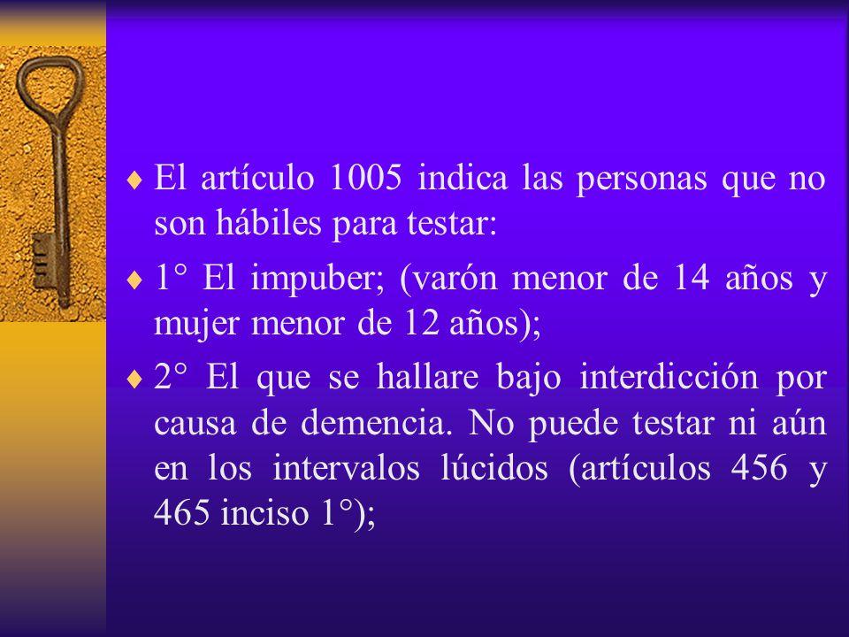 El artículo 1005 indica las personas que no son hábiles para testar: