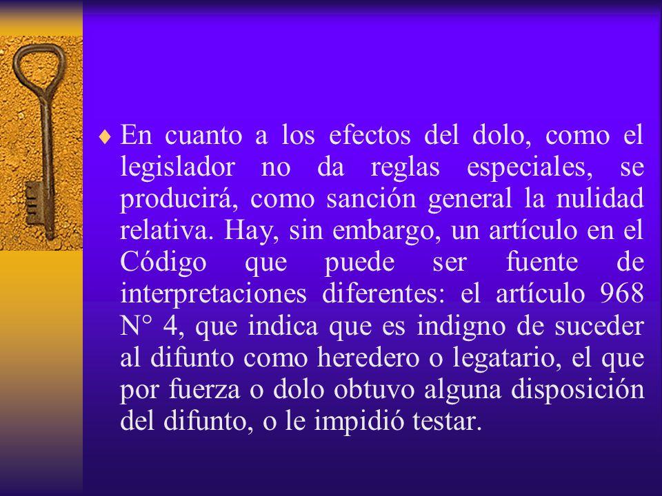 En cuanto a los efectos del dolo, como el legislador no da reglas especiales, se producirá, como sanción general la nulidad relativa.