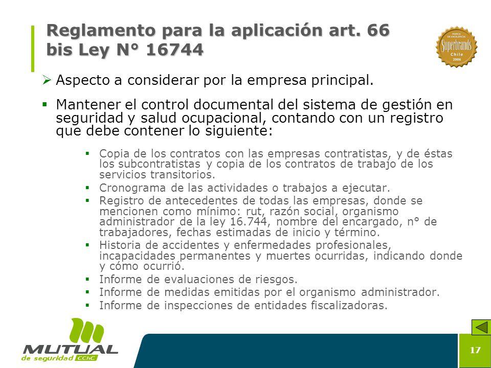 Reglamento para la aplicación art. 66 bis Ley N° 16744