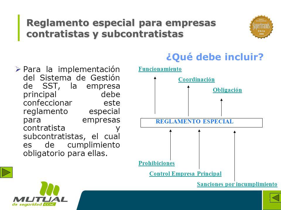 Reglamento especial para empresas contratistas y subcontratistas