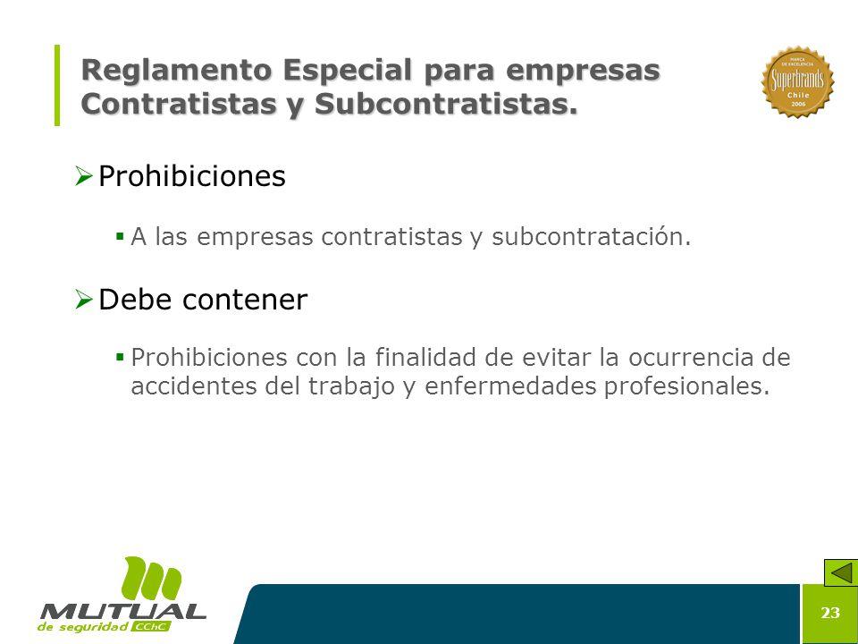 Reglamento Especial para empresas Contratistas y Subcontratistas.