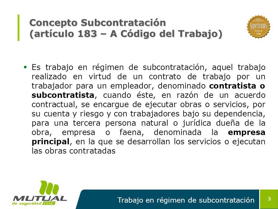 Concepto Subcontratación (artículo 183 – A Código del Trabajo)