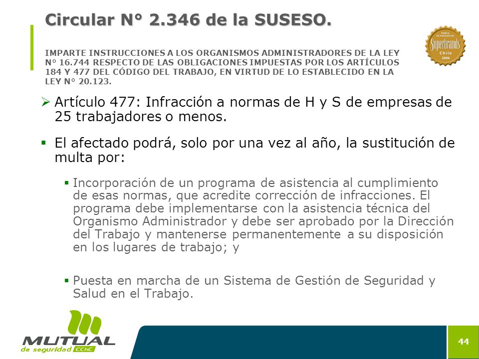 Circular N° 2. 346 de la SUSESO