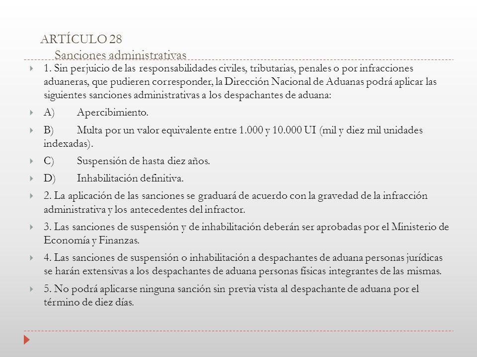 ARTÍCULO 28 Sanciones administrativas